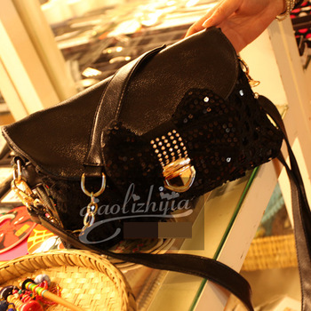 2013 spring lace women's handbag bow paillette fashion rivet chain one shoulder messenger bag
