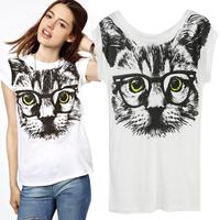 2013 Gorgeous Glasses Cat Durable Print O-neck Short-sleeve Women's T-shirt Cottton Vest Promotion,Free Shipping