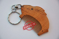 Changzhou comb handmade white elephant99 pyrography unique small keychain small onrabbit