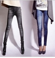 Free Shipping Fashion Faux Denim Legging Ankle Length Trousers Female Print Ankle Length Trousers Slim Jeans(130G)(China (Mainland))