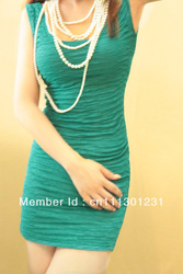 2013 lady's Women's easy matching Sleeveless Clinging tight fitting tank solid Sexy Slim Tight Candy Color crumple Mini dress(China (Mainland))