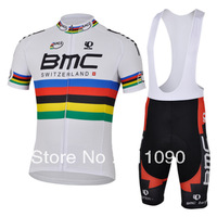 Free shipping!new 2013 BMC UCI white team cycling jersey and bib shorts kit/short sleeve Ciclismo jersey/summer cycling wear