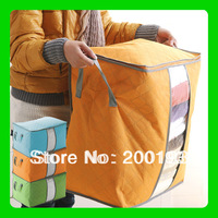 SMILE MARKET Free Shipping 1 piece  Big Size Colorful Bamboo Storage Bag for Clothes Quilt Blanket