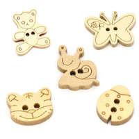100 Pcs Random Mixed Animal Wood Sewing Buttons Scrapbooking Knopf Bouton