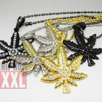 Marijuana hip hop bling pendant necklace hiphop