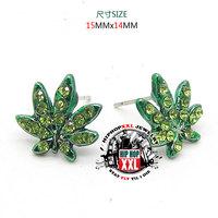 Marijuana earring hiphop hip-hop stud earring hip hop bling leaves