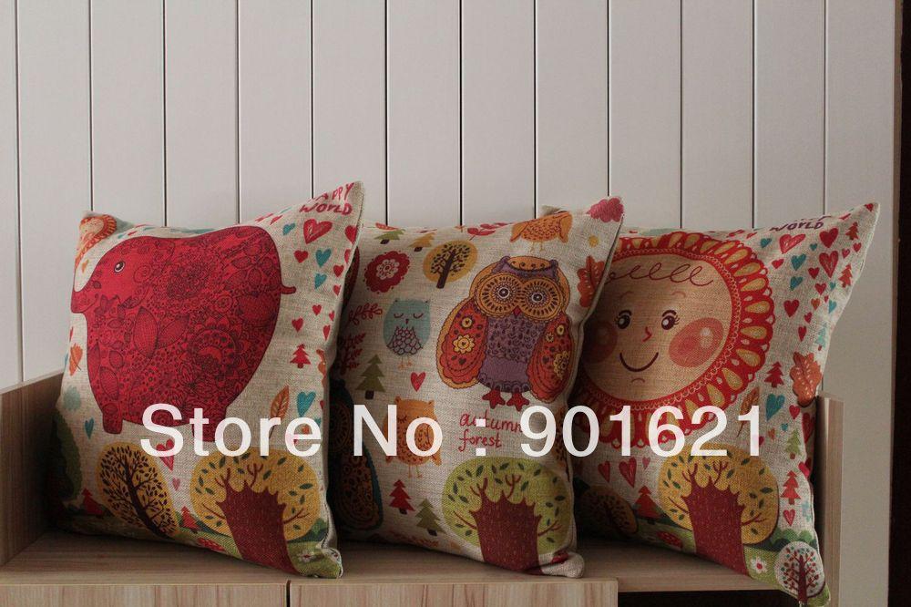 frete grátis mundo feliz coruja bonito sol elefante almofada padrão de cobertura quarto dos miúdos decorativas jogar fronha(China (Mainland))