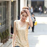 Lucky 2012 women's loose plus size paillette pure cotton vest basic shirt sleeveless spaghetti strap top