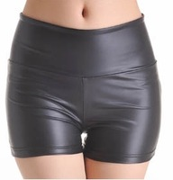 Free shipping 2013 New womens black leather mini short dress with zipper,high waisted leather shorts,plus size leather shorts
