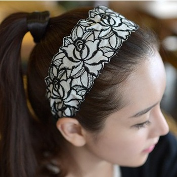 Viviennes hair accessory gorgeous vintage rose lace wide hair band hair pin headband autumn and winter