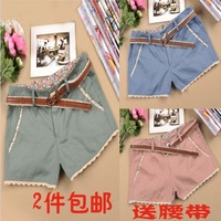 2013 spring shorts female lace beading decoration multicolour shorts hot trousers with belt