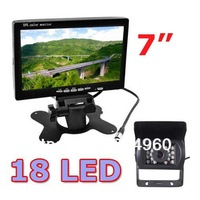 """waterproof IR Reverse Camera + 7"""" LCD Monitor Car Rear View Kit For Bus Long Truck with 10m cable 5pcs/lot"""