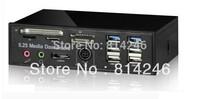 "Free shipping,5.25"" PCI-E to USB3.0 HUB + eSATA + SATA + Card Reader Multi Panel"