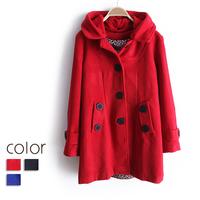2013 spring fashion long-sleeve single breasted wool coat female medium-long with a hood outerwear female ww2990