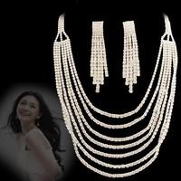 Formal dress jewelry set necklace NEOGLORY white rhinestone multi-layer chain luxury elegant bride wedding chain sets