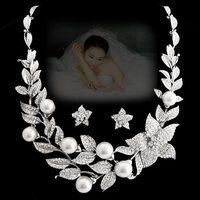 NEOGLORY luxury elegant pearl rhinestone flower necklace chain sets quality bride wedding dress formal dress accessories set 3