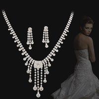 Bride wedding sets chain NEOGLORY accessories white luxury full rhinestone elegant evening party formal dress jewelry set