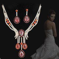 Bride wedding sets chain NEOGLORY 2 red zircon luxury elegant evening party formal dress jewelry set necklace