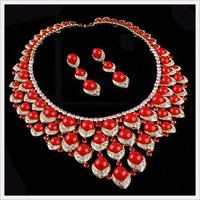 The bride wedding dress chain sets NEOGLORY red full rhinestone flower elegant formal dress luxury jewelry set necklace
