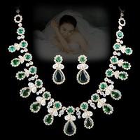 Wedding dress formal dress chain sets NEOGLORY accessories green zirconocene rhinestone flowers in the elegant jewelry luxury
