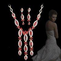 Bride wedding sets chain hongbai NEOGLORY 2 drop elegant luxury evening party formal dress jewelry set necklace