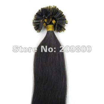 "Guarantee 100% human hair #1B-black with brown 100S 16""/18""/20""/22""/26"" high quality U Nail tipped remy Human Hair Extensions"