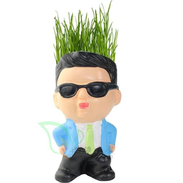 Diy estilo Gangnam tio magia grama vaso de grama cabeça da boneca de brinquedo presente do dia da mãe(China (Mainland))