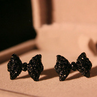 Vintage elegant full rhinestone bow stud earring earrings female accessories earring