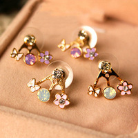 Accessories vintage fashion butterfly flower small fresh ol elegant stud earring earrings female earrings