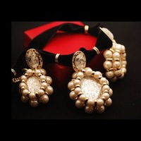Accessories vintage fashion royal lace inlaying pearl gem velvet short design necklace female necklace