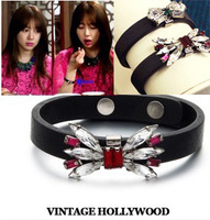 Korean yeh accessories gem bow strap leather bangle bracelet female