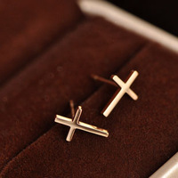 Accessories fashion brief cross titanium 14k rose gold stud earring earrings female