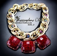 Fashion red square drill crystal false collar necklace female