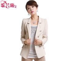 2013 spring women's medium-long stripe loose women's blazer ol outerwear plus size
