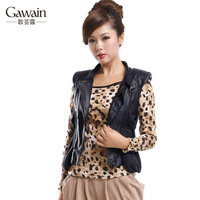 2013 spring women's motorcycle outerwear leather clothing small vest plus size