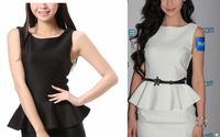 Free shipping New Design 1pc Temperament sexy falbala womens Sleeveles Frill Peplum dress 70007 -70012