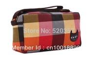 Free Shipping! Fashion Women Canvas Stripe Wallet  Zipper Purse zipper pouch