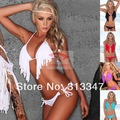 2013 Women Sexy Fashion Pink Aqua Blue Black White Bikini Bathing Beach Swim Wear Swimsuit Halter Tassel Fringe TOP Bra Padded