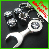 car logo Tire Valve Caps 4pcs + wrench key chain for VW Volkswagen free shipping(FD-CAP-Volkswagen)