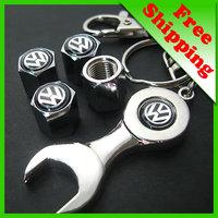 car logo Tire Valve Caps 4pcs + wrench key chain for VW Volkswagen free shipping(FD-CAP-Volkswagen)