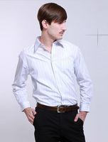 Wholesale 8 pcs spring Autumn blue white striped men's cotton Business casual gentleman slim fit stylish shirt FZ-M002-60ST3