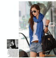 Gift solid color fluid all-match pleated scarf wrinkled scarf summer air conditioning