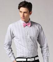 Wholesale 8 pcs Autumn winter white striped man gentleman men's Business casual slim fit stylish cotton shirt top FZ-M002-60ST2