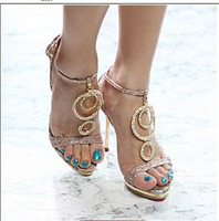 2011 women's shoes fashion sexy open toe rhinestone decoration women's high-heeled sandals