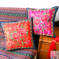 Pillow cover cushion sofa cushion office cushion national trend cushion camellia pillow miaoxiu multicolor