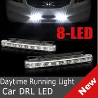 "2 x ""E4"" 8 LED Universal DRL 12V Daytime Running Day Driving Bulb Kit Car Fog Light Strip FREE SHIPPING"