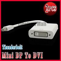 2PCS/LOT!! NEW Thunderbolt Mini Displayport DP to DVI Adapter for Apple PC MacBook Pro Air + FREE SHIPPING