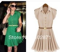 Free Shipping 2013 summer new lapel single-breasted tunic dress Color: green , bare pink , size : S, M, L , XL