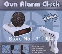 Free Shipping Gun Alarm Clock Laser Target Deactivated StyleWhite Digital Table Alarm Clock