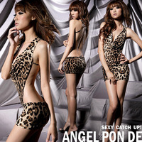Temptation leopard print racerback nightgown leopard print sexy women's 8071 sleep set free shipping